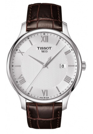 TISSOT Tradition Men's Quartz Silver Dial with Brown Leather Strap T0636101603800, 42mm