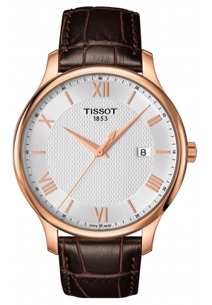 TISSOT Tradition Gents Quartz Silver Dial Brown Leather Men's Watch T0636103603800, 42mm