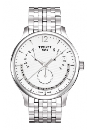 TISSOT Tradition Men's Chrono Quartz Silver Dial Watch with Stainless Steel Bracelet T0636371103700 42mm