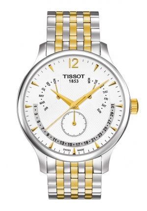Tradition Men's Quartz Chrono Silver Dial Watch with Two-tone Stainless Steel Bracelet T0636372203700 42mm