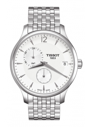 TISSOT Tradition GMT Men's Chrono Quartz Silver Dial Watch with Stainless Steel Bracelet , T0636391103700 42mm