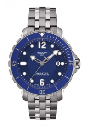 TISSOT Seastar Men's Automatic Blue Dial Watch with Stainless Steel Bracelet T0664071104702, 42mm