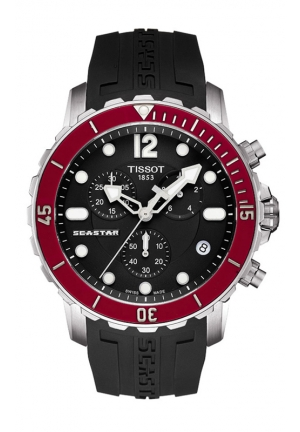TISSOT T-Sport Seastar Chronograph Black Dial Black Rubber Mens Watch T0664171705701, 42mm