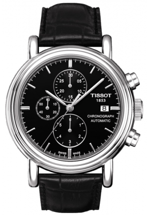 "TISSOT ""Carson"" Stainless Steel Watch with Black Leather Band T068.427.16.051.00, 38mm"