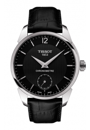T-Complication Chromometer Men's Mechanical Black Watch with Black Leather Strap , T0704061605700 43mm