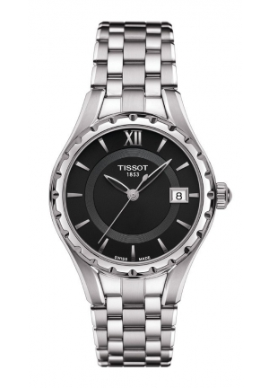 TISSOT T-Lady T072 Women's Quartz Black Dial Watch with Stainless Steel Bracelet T0722101105800 34mm
