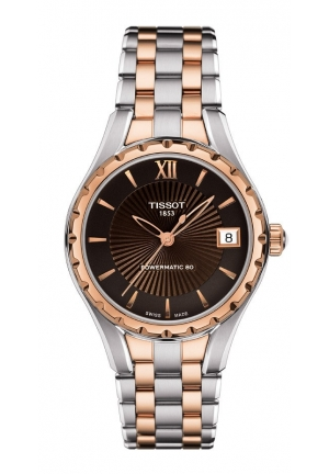 TISSOT T-Lady Women's Automatic Brown Dial Watch with Two-Tone Stainless Steel Bracelet T0722072229800 34mm
