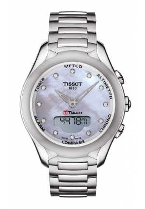 TISSOT T-Touch Lady Solar Quartz MOP & Diamond Dial Watch with Stainless Steel Bracelet T0752201110600 38mm