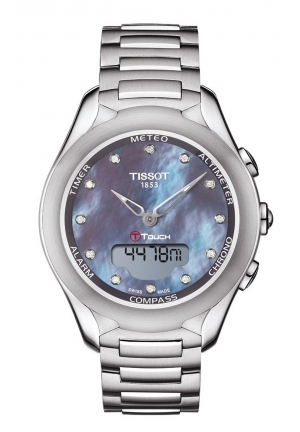 T-TOUCH LADY SOLAR DIAMOND MOP DIAL WATCH WITH STAINLESS STEEL BRACELET T0752201110601 , 38MM