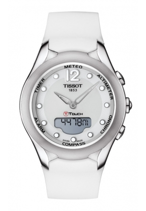 TISSOT T-Touch Lady Solar Quartz White Dial Watch with White Rubber Strap T0752201701700 38mm