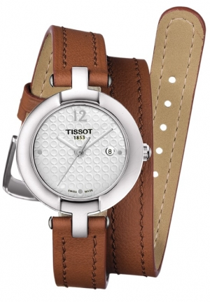 PINKY BY TISSOT WOMEN'S QUARTZ WHITE DIAL WATCH WITH LIGHT BROWN DOUBLE LEATHER STRAP T0842101601704 , 27.95MM