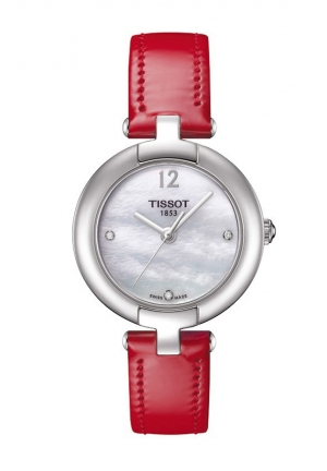TISSOT WOMEN'S QUARTZ WHITE MOP DIAL WATCH WITH RED LEATHER STRAP T0842101611600