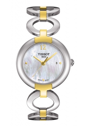 T-Lady Pinky Two-tone White Mother-of-Pearl Quartz Watch , T0842102211700 27.95mm