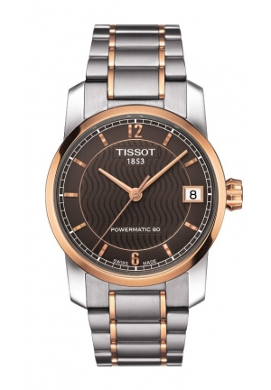 TISSOT Titanium Women's Automatic Brown Dial Watch with Titanium Bracelet T0872075529700 32mm