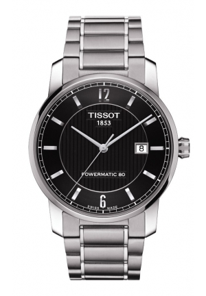 TISSOT Titanium Men's Automatic Black Dial Watch with Titanium Bracelet, T0874074405700 40mm