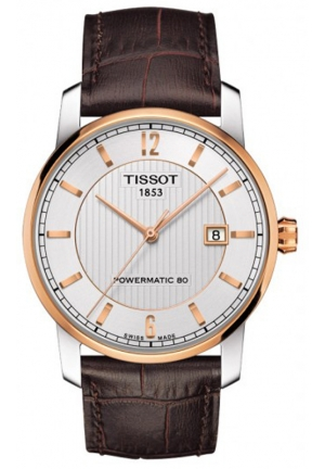 TISSOT Men's Automatic Silver Dial with Brown Leather Strap T0874075603700, 40mm