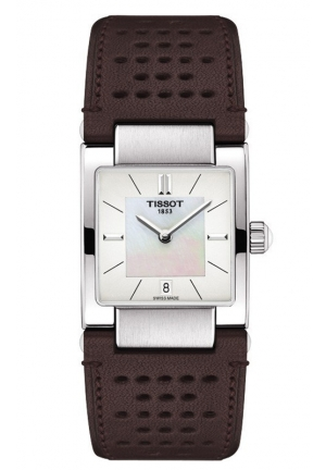 TISSOT Lady T02 Women's Quartz White MOP Dial Watch with Brown Leather Strap T0903101611100 32mm