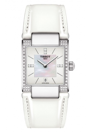 TISSOT Lady T02 Women's Quartz White MOP Dial Watch with White Leather Strap T0903106611600 32mm