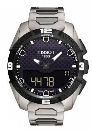 TISSOT T-Touch Expert Solar Men's Quartz Chronograph Black Dial Watch with Titanium Bracelet T0914204405100 45mm