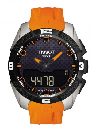 TISSOT T-Touch Expert Solar Men's Quartz Titanium Black Dial Watch with Orange Rubber Strap T0914204705101 45mm