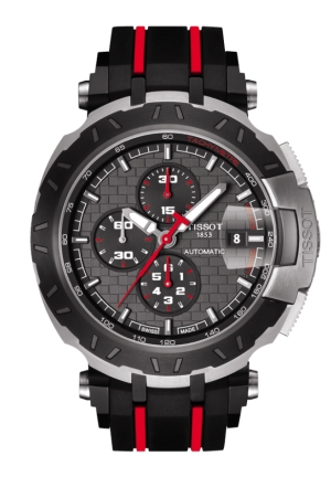 TISSOT T-Race MotoGP 2015 Automatic Anthracite Dial Black and Red Rubber Band Men's Sports Watch T0924272706100, 44mm