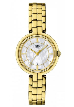 TISSOT FLAMINGO WOMEN'S QUARTZ MOP WHITE DIAL WITH GOLDEN STAINLESS STEEL BRACELET T0942103311100 26mm