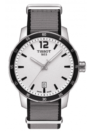 TISSOT Quickster Silver Dial Stainless Steel Case Nylon Strap Men's Watch T0954101703700, 40mm