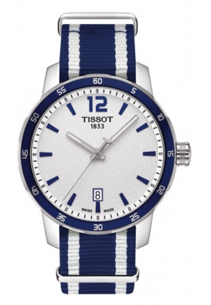 TISSOT Quickster Unisex Quartz Silver Dial with Blue Synthetic Strap T0954101703701, 40mm