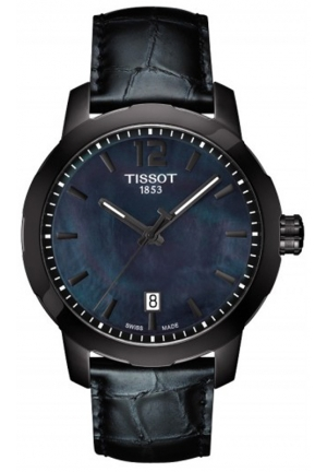 TISSOT Men's Quartz Black Dial with Black Leather Strap T0954103612700, 40mm
