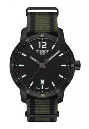 TISSOT Quickster Unisex Quartz Black and White Dial with Synthetic Strap T0954103705700, 40mm