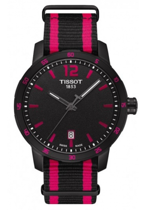 TISSOT Men's Quartz Black and Pink Dial with Synthetic Straps T0954103705701, 40mm