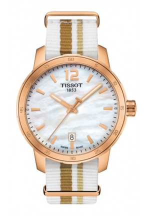 TISSOT Quickster Unisex Quartz White MOP Dial with Synthetic Straps T0954103711700, 40mm