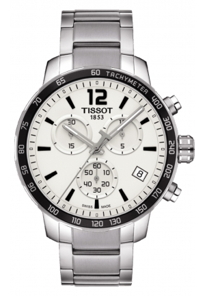 TISSOT Quickster Chronograph Silver Dial Stainless Steel Case Men's Sports Watch T0954171103700, 42mm