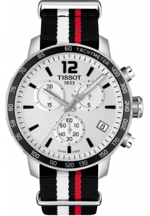 TISSOT Quickster Chronograph Silver Dial Black White and Red Synthetic Band Men's Sports Watch, T0954171703701 42mm