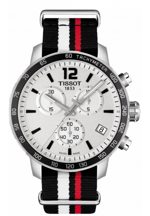 TISSOT Quickster Chronograph Silver Dial Black White and Red Synthetic Band Men's Sports Watch T0954171703701, 42mm