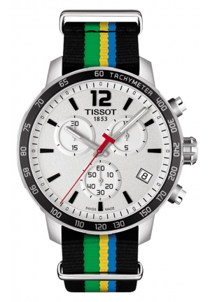 TISSOT Quickster White Dial Striped Nylon Men's Watch T0954171703702, 42mm