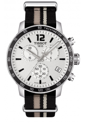 QUICKSTER SILVER CHRONOGRAPH DIAL NATO STRAP MEN'S WATCH T0954171703710 , 42MM