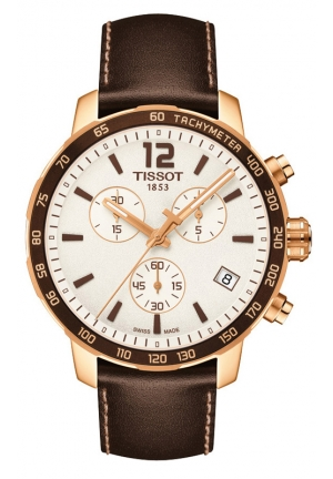 TISSOT QUICKSTER QUARTZ SILVER DIAL WITH BROWN LEATHER STRAP AND BROWN CHRONOGRAPH T0954173603700 42mm