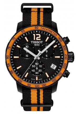 TISSOT Quickster Chronograph Black Dial Black Synthetic Band Men's Sports Watch T0954173705700, 42mm