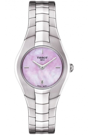 T-ROUND WOMEN'S MOP PINK DIAL WATCH WITH STAINLESS STEEL BRACELET T0960091115100, 26MM