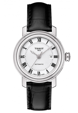 TISSOT BRIDGEPORT WOMEN'S AUTOMATIC SILVER DIAL WITH BLACK LEATHER STRAP T0970072603300 29mm