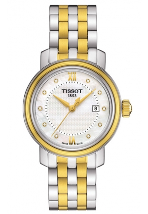 TISSOT BRIDGEPORT WOMEN'S QUARTZ DIAMOND WITH WHITE MOP DIAL WITH TWO-TONE STAINLESS STEEL BRACELET T0970102211600 29mm