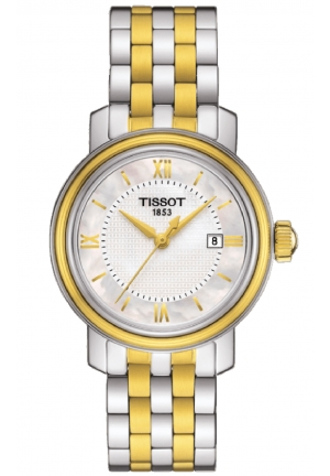 TISSOT Bridgeport Quartz White Mother of Pearl Dial Two-tone Ladies Watch T0970102211800, 29mm