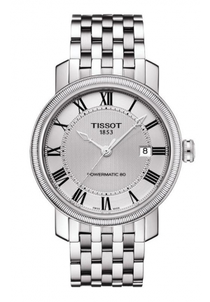 TISSOT BRIDGEPORT MEN'S POWERMATIC 80 SILVER DIAL WITH STAINLESS STEEL BRACELET T0974071103300 40mm
