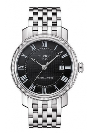 TISSOT BRIDGEPORT MEN'S POWERMATIC 80 BLACK DIAL WITH STAINLESS STEEL BRACELET T0974071105300 40mm