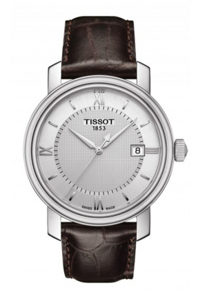 TISSOT BRIDGEPORT MEN'S QUARTZ SILVER DIAL WITH BROWN LEATHER STRAP T0974101603800 40mm