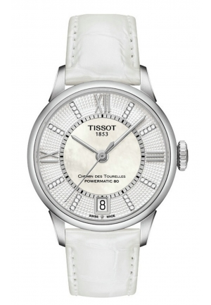 Tissot Chemin Des Tourelles Women's Automatic White MOP Dial with White Leather Strap, T0992071611600 32mm