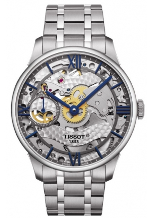 TISSOT Chemin Des Tourelles Squelette Skeleton Dial Stainless Steel Mens Watch T0994051141800, 42mm