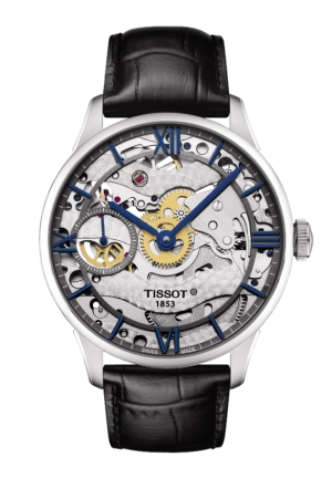 Tissot Chemin Des Tourelles Squelette Skeleton Dial Black Leather Mens Watch T0994051641800