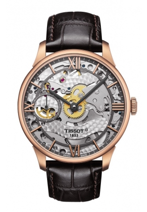 TISSOT Chemin Des Tourelles Squelette with Brown Leather Strap , T0994053641800 42mm